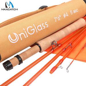 "Maxcatch UniGlass Fly Fishing Travel Rod 3/4/5WT 7'6'' 8'0"" 3 Pieces Fiberglass"