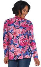 Isaac Mizrahi Live Womens Peony Bouquet Mock Neck Peplum Top S Purple A311520
