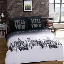 Copripiumone e federa set di biancheria da letto cotone New York Taglia doppio