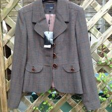 Ladies Next Fully Lined Tailored Brown Check Jacket - Size 6 (EUR 34)