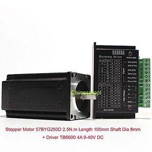 Stepper Motor 57BYG250D 2.5 N.m Length 100mm + Microstep Driver 0.5-4A DC 9-40V