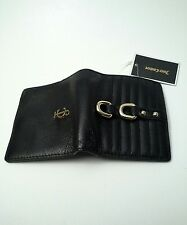 JUICY COUTURE Mini Bi-fold Quilted Wallet Soft Leather Gold Tone Black $79