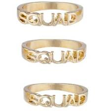 Lux Accessories Gold Tone Squad BFF Best Friends Forever Trendy Ring Set 3PC