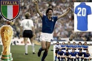 MAGLIA CALCIO ITALIA PAOLO ROSSI 20 MONDIALI 1982 RETRO VINTAGE SHIRT MAILLOT