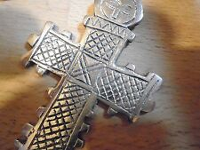 .925 Silver plated ETHIOPIAN ANCIENT TRIBAL CROSS 64 mm x 44 mm PENDANT