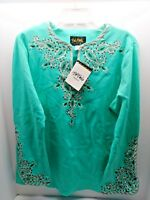 Bob Mackie Aqua Embroidered Bell Sleeve Peasant Tunic Size Medium - NEW WITH TAG