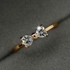 Sweet Women Gold Crystal Rhinestone Finger Bow Wedding Engagement Ring Gift FT78