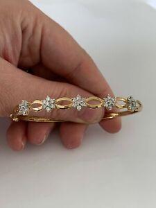 9ct gold 1ct diamond cluster bangle, heavy vintage 9k 375, 7.7 grams