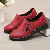 Women's Casual Leather Slip On Outdoor Flat Loafers Comfort Antiskid Shoes Work
