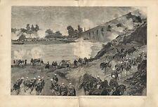 Stampa antica RUBIERA manovre militari Reggio Emilia 1887 Old antique print