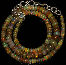 """52 Crts 1 Strands 3 to 8 mm 14"""" Beads necklace Ethiopian Welo Fire Opal  A+++957"""