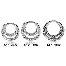 316L Surgical Steel Septum Clicker Nose Ring Hoop Clear CZ Choose Your Size 16G