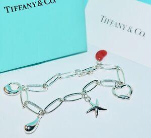 TIFFANY & CO Silver Elsa Peretti Icons Charm Bracelet 5 Charms Inc Rare Red Bean