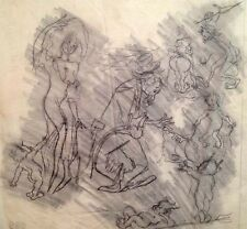 Julian Ritter-Clown With Ladies - Charcoal Tracing on Vellum - Un-Signed- 385