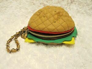 Betsey Johnson Nice Buns Burger Cheeseburger Wristlet Purse Wallet Clutch