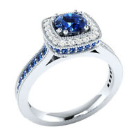 0.90 Carat Round Cut Blue Sapphire 14k White Gold Finish Wedding Engagement Ring