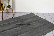 Black Rug Vintage Dari Indian Floor Mat Carpet Reversible Handmade Chindi Rag