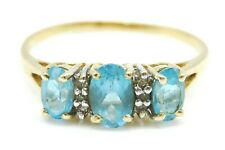 BEAUTIFUL Solid 14k Yellow Gold / Aquamarine / Diamonds Ladies Ring Size 8.75