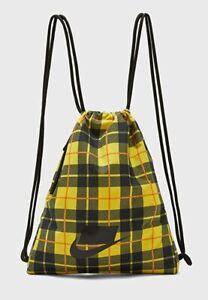 "Nike Heritage Gymsack BA5902-703 Yellow/Black Bag Sack 13""X17""NWT"