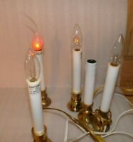 """Lot of 5 VIntage Brass Bottom Electric Candle Lamp 7 """",  3 with mid-cord switch"""