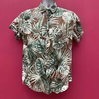 Men's Floral Jungle Crazy Abstract Short Sleeve Button Up Shirt - Medium