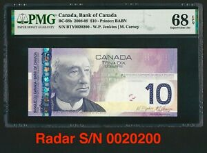 Canada 🇨🇦2008 - $10 Dollars Radar S/N 0020200 - PMG Superb Gem UNC 68 EPQ TOP