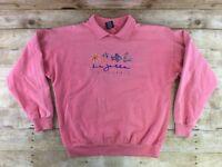 Vtg 80s 90s La Jolla California Sweatshirt Women Plus 1X Coral Embroidered Retro