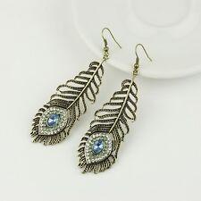 Lady's Vintage Bronze New Peacock Feather Rhinestone Dangle Stud Hook Earrings