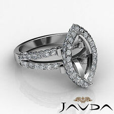Halo Set Diamond Engagement Marquise Shape Semi Mount Ring 14k White Gold 1.58Ct