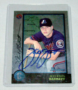 1998 Bowman Montreal Expos Michael Barrett Autograph Baseball Card