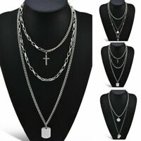 Gothic Necklace Multi-Layer Stainless Steel Silver Chain Choker Party Jewelry