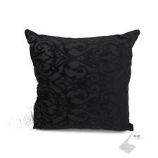 """Hallmart Collectibles Decorative Pillow 18"""" Square Regal Cut Velvet Black"""
