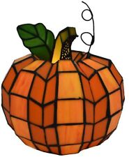 Pumpkin Stained Glass Accent Lamp Halloween Fall Home Decor Harvest Tiffany New