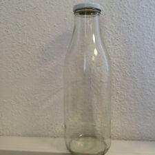 Glasflasche, Milchflasche, Weithalsflasche 1l mit weissem Deckel