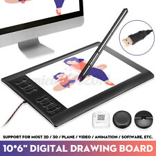 10x6'' Large Screen Graphics Drawing Tablet Quick Reading Pad Pen Board USB