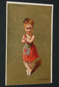 CHROMO 1890-1895 AU BON MARCHE BOUCICAUT DANSE COSTUME ENGLAND TESTU & MASSIN