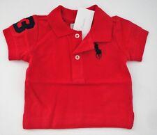 93b949cc8 Ralph Lauren Boy Signal Red Mesh Polo Shirt W large Navy Logo Size 18m