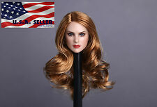 "1/6 American Female Head Sculpt Curly Hair For 12"" Hot Toys PHICEN Figure USA"