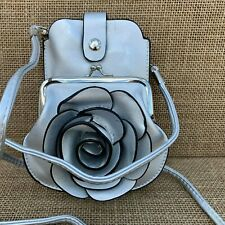 Silver cross body Rose bag small purse with Phone Spectacles Holder 2 straps