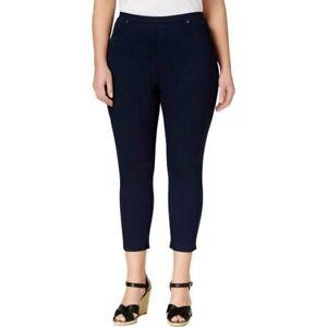 Style & Co Plus Size Comfort Waist Mid Rise Capri Leggings 0X, Navy Blue #1432