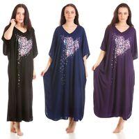 Mujer Caftán Batón Pijama Talla Única Polialgodón, Tres Estampado Cuatro Colores
