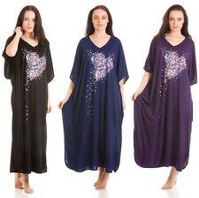 Ladies one size poly cotton kaftan lounger nightwear, three prints four colours