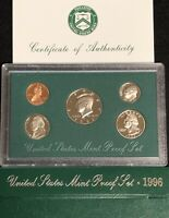 "1996 UNITED STATES MINT ""PROOF"" SET IN ORIGINAL MINT PACKAGING WITH COA"