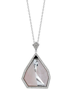 Swarovski Architectural Rhodium-Plated Pink Crystal Pendant Necklace 5090201