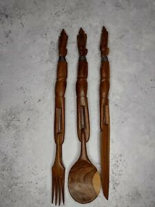 Vintage Hand Carved Wooden African Tribal Art, Knife Fork Spoon, retro, cool