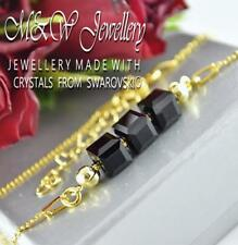 Gold Plated 925 Silver chain Bracelet Crystals From Swarovski® CUBE 6mm - Jet