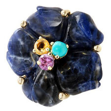 Floral New  Ring W/13.60ctw Precious Stones in 14K/925 Gold plated Silver.