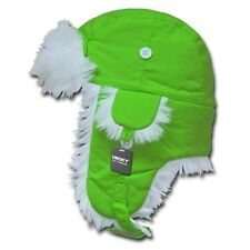 Neon Green Aviator Bomber Faux Fur Winter Ski Trooper Trapper Ear Flap Hat S/M