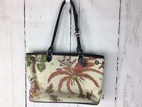 Brighton Island Decor Palm Tree Canvas/leather Large Tote Bag