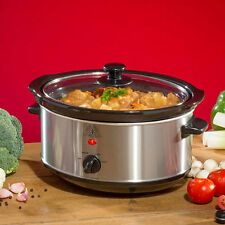 3.5L SLOW COOKER STAINLESS STEEL REMOVABLE INNER CERAMIC BOWL STEAM GRILL 200W